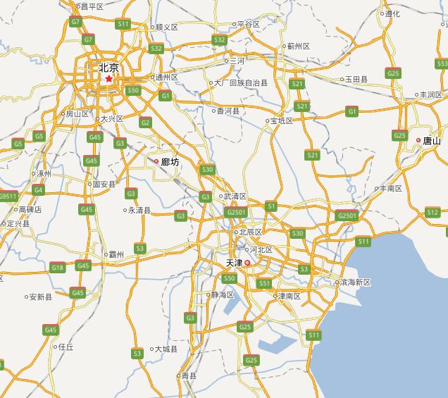北京と天津の地図