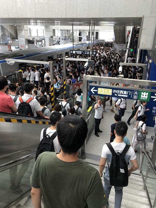 西二旗の駅の混雑